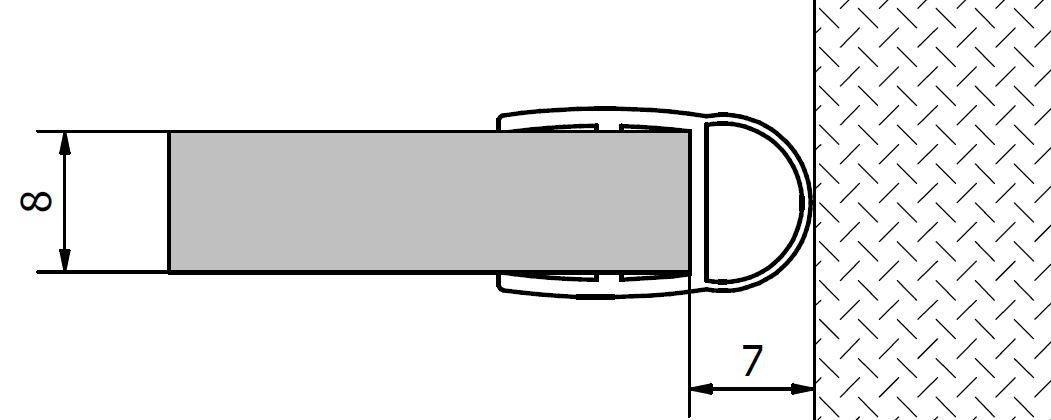 VITRA LINE (FONTE) těsnění mezi sklo a stěnu, 2000mm, na sklo 8mm