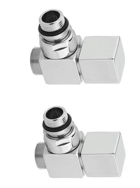 CUBE připojovací sada ventilů ruční rohová, chrom