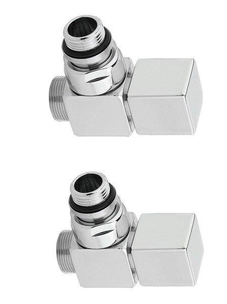 CUBE připojovací sada ventilů ruční rohová, broušený nerez