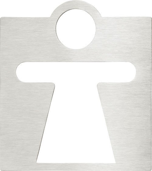 WC dámy označení 120x120mm, leštěný nerez