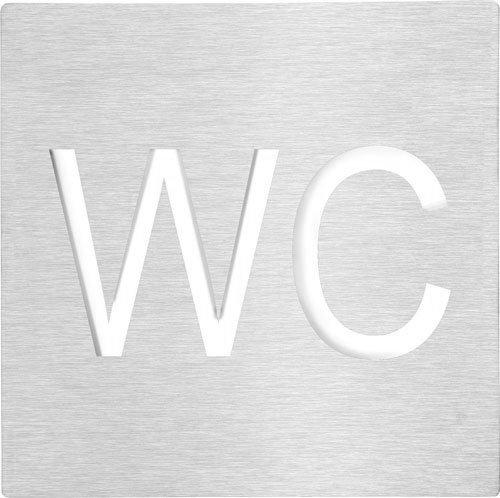 WC označení 120x120 mm, leštěný nerez
