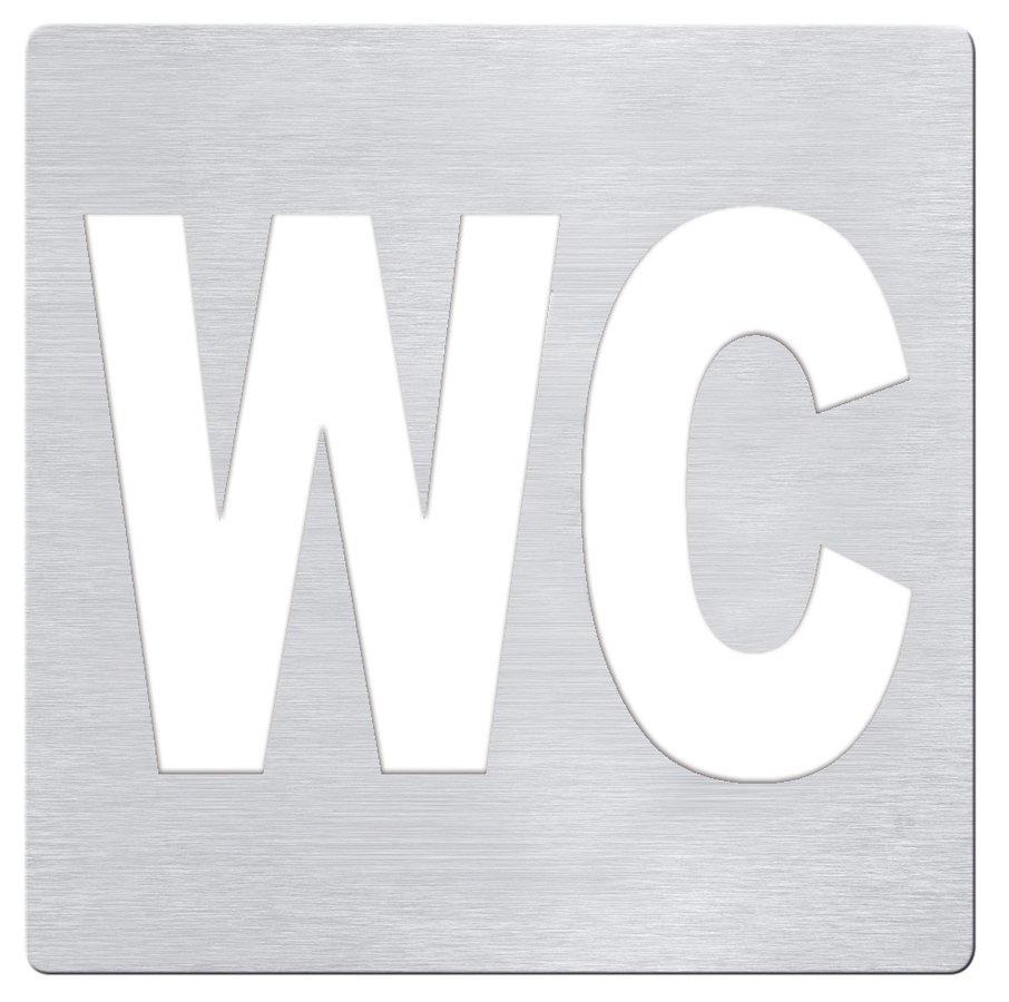 WC označení 120x120 mm, broušený nerez