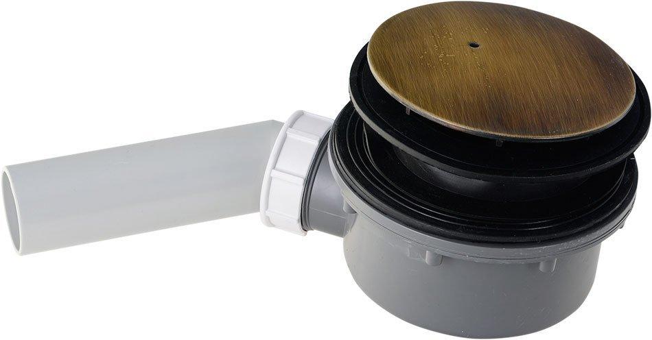RETRO vaničkový sifon, průměr otvoru 90 mm, krytka bronz