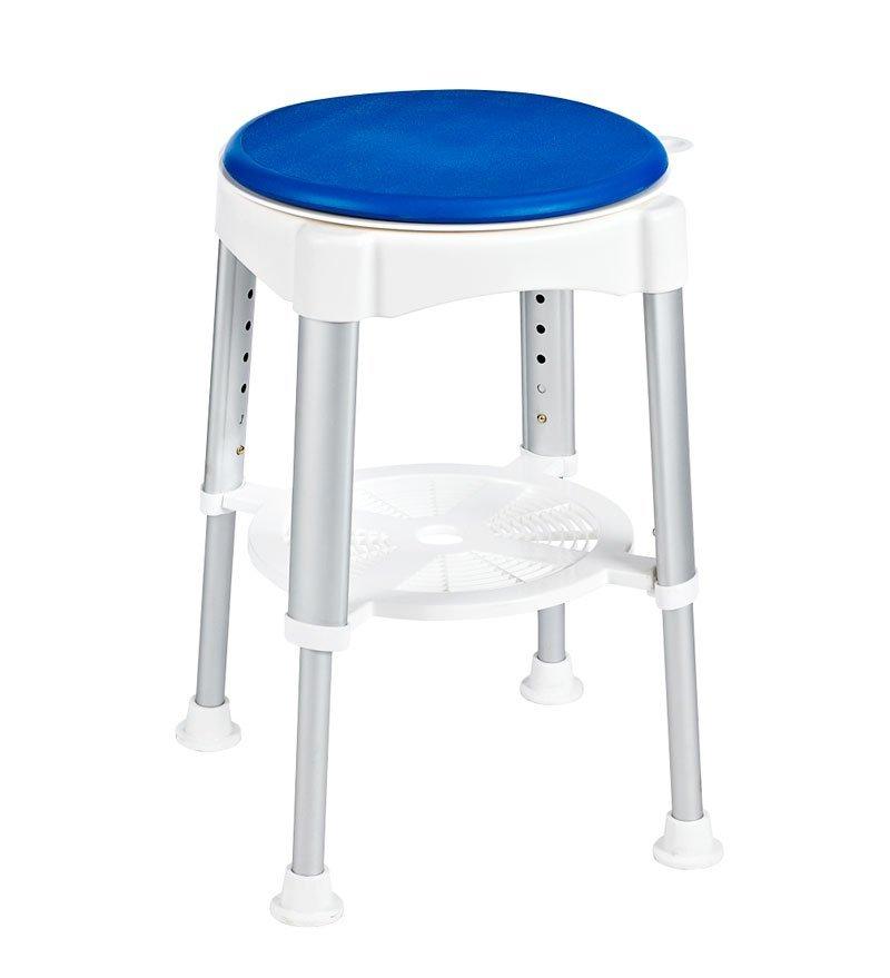 Stolička otočná, nastavitelná výška, bílá/modrá