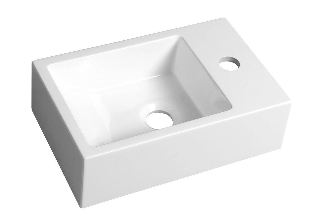 ALABAMA umývátko 36x11x23cm, litý mramor, pravé, bílá