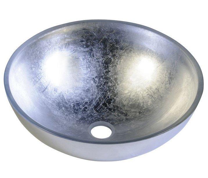 MURANO ARGENTO skleněné umyvadlo kulaté 40x14 cm, stříbrná