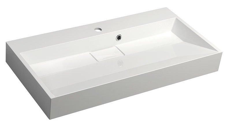 AMUR umyvadlo 90x46 cm, litý mramor, bílá