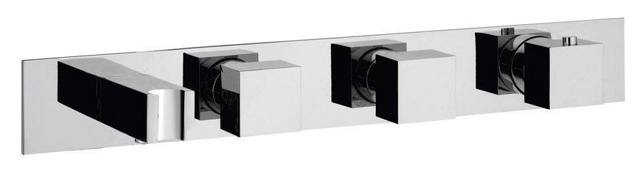 Podomítková termostatická baterie s držákem ruční sprchy,2 výstupy,hranatá,chrom