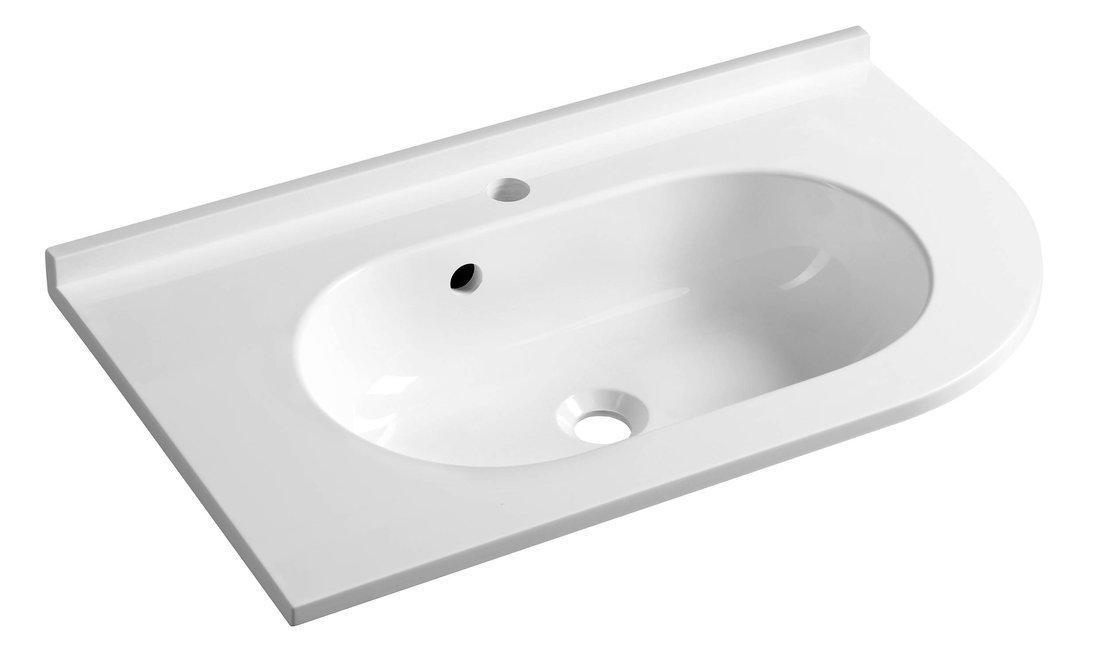 PULSE umyvadlo 75x4,4x45cm, litý mramor, bílá, levé