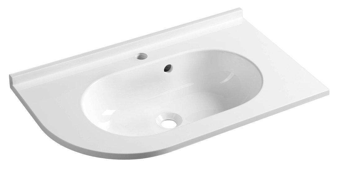 PULSE umyvadlo 75x4,4x45cm, litý mramor, bílá, pravé