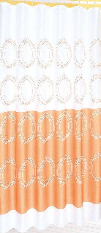 Závěs 180x180cm, 100% polyester, bílá/oranžová
