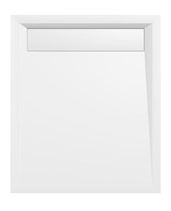 VARESA sprchová vanička z litého mramoru se záklopem, obdélník 100x80x4cm, bílá