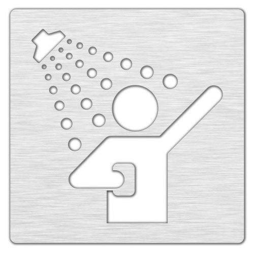 Označení sprcha 120x120mm, leštěný nerez