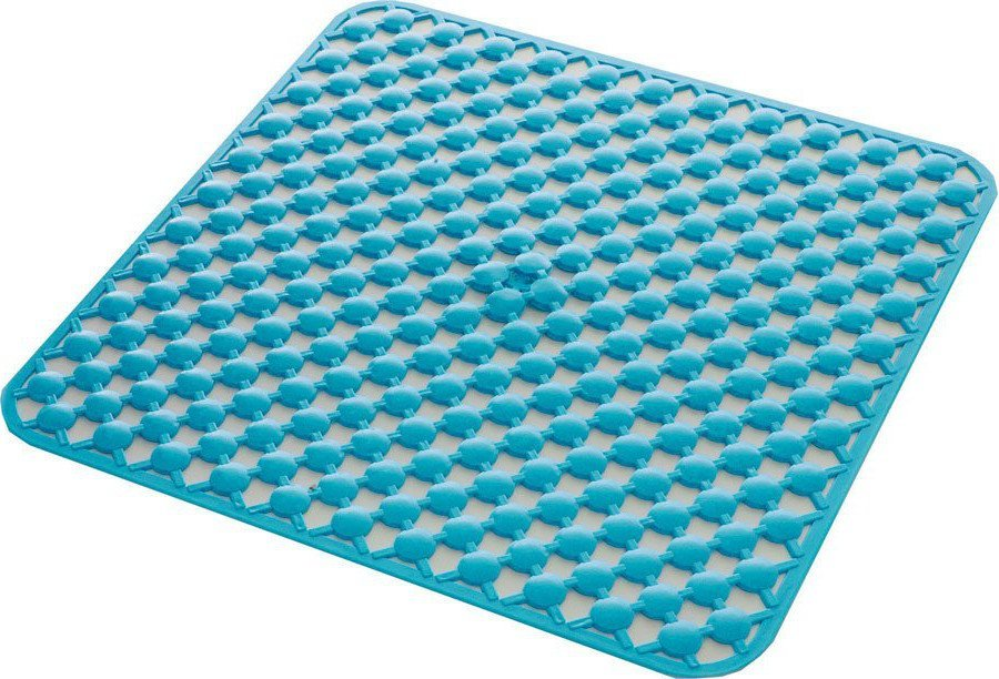 GEO podložka do sprchového koutu 53x53cm s protiskluzem, kaučuk, modrá