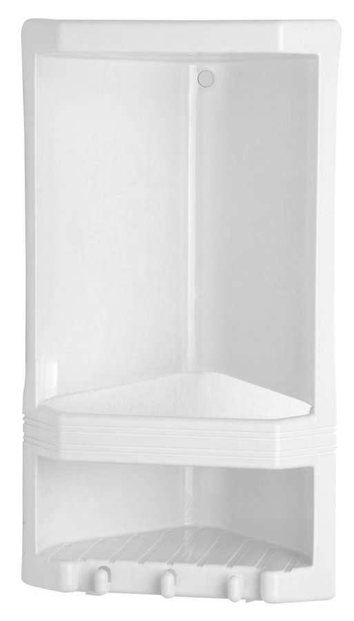 JUNIOR dvoupatrová rohová polička, 189x385x139 mm, termoplast, bílá