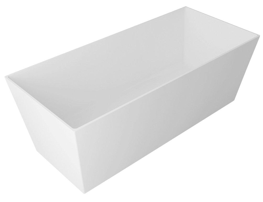 KVADRIE vana 1590x650x550mm, litý mramor, objem 360l, bílá lesk