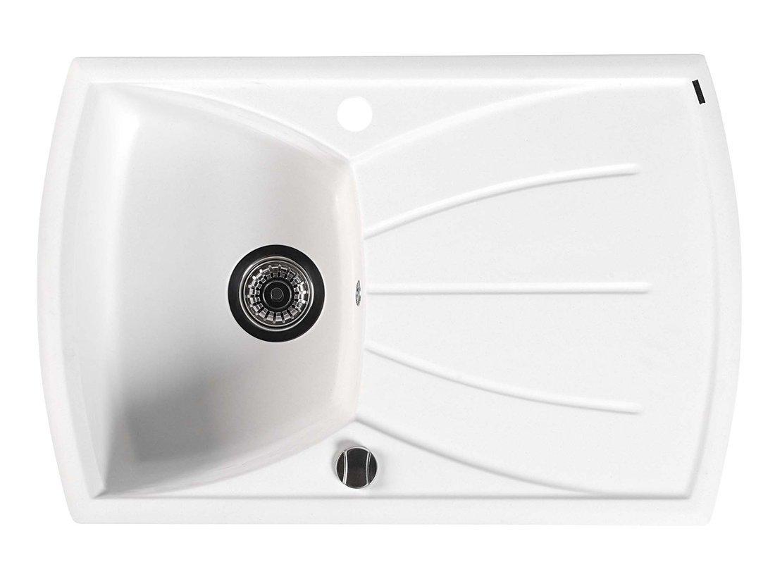 Dřez granitový vestavný s odkapávací plochou, 77x51 cm, bílá