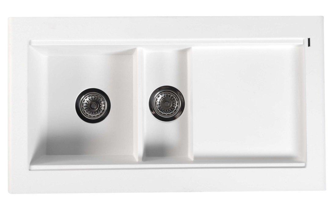 Dřez granitový vestavný s odkapávací plochou a vaničkou, 95,8x53,4 cm, bílá