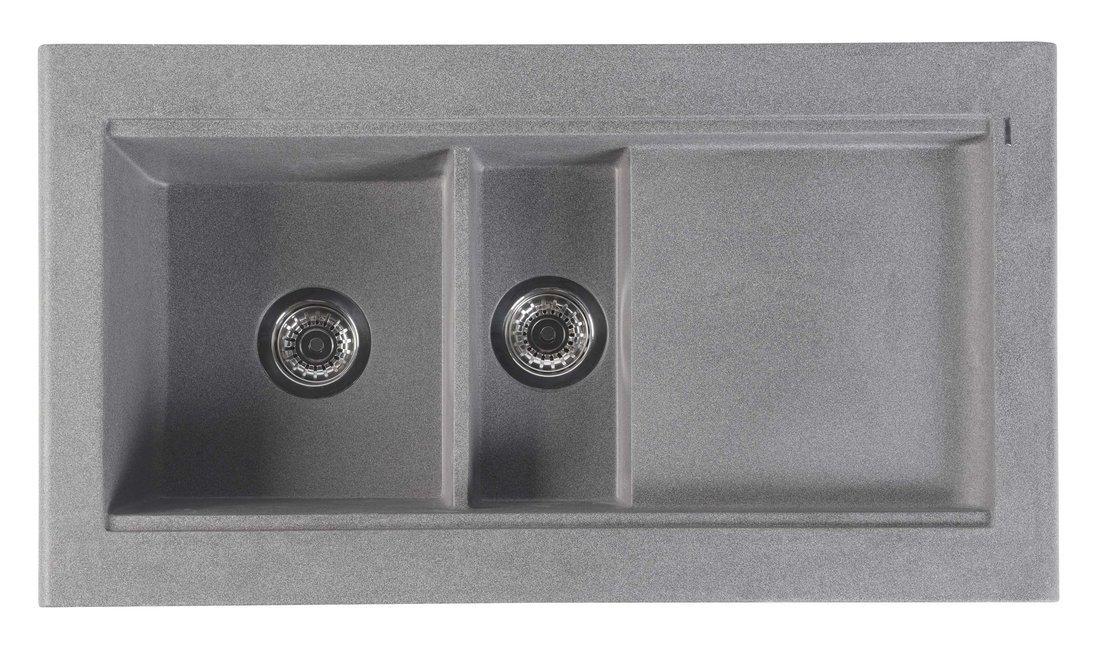 Dřez granitový vestavný s odkapávací plochou a vaničkou, 95,8x53,4 cm, šedá