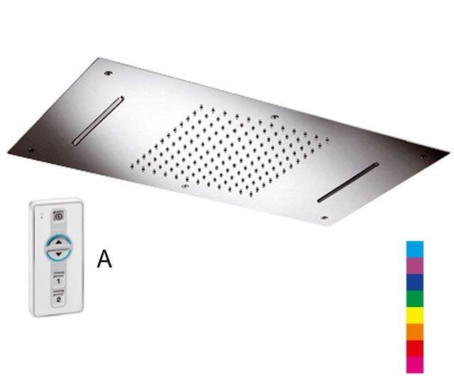 CHROMOTERAPIE hlavová sprcha 730x380mm, déšť, 2x kaskáda, ovladač A, nerez