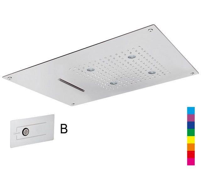 CHROMOTERAPIE hlavová sprcha 550x400mm, déšť, kaskáda, ovladač B, nerez