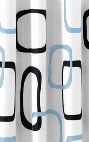 Sprchový závěs 180x200cm, polyester, bílá/černá/modrá