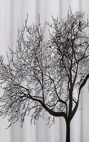 Sprchový závěs 180x200cm, polyester, černá/bílá, strom