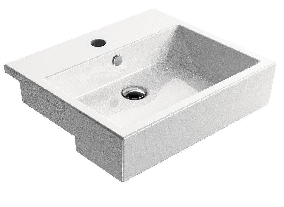 KUBE umyvadlo polozápustné 55x47 cm, bílá ExtraGlaze