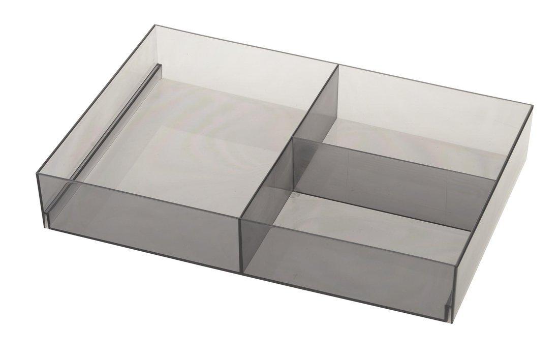 Organizér do zásuvky, 202x50x302 mm, plast, kouřová