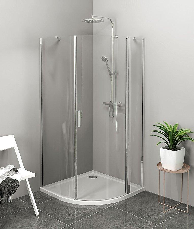 ZOOM LINE čtvrtkruhová sprchová zástěna 900x900mm, čiré sklo, pravá