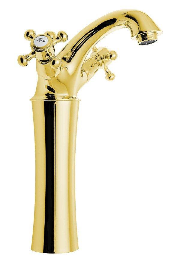 ANTEA stojánková umyvadlová baterie vysoká s výpustí, výška 245mm, zlato