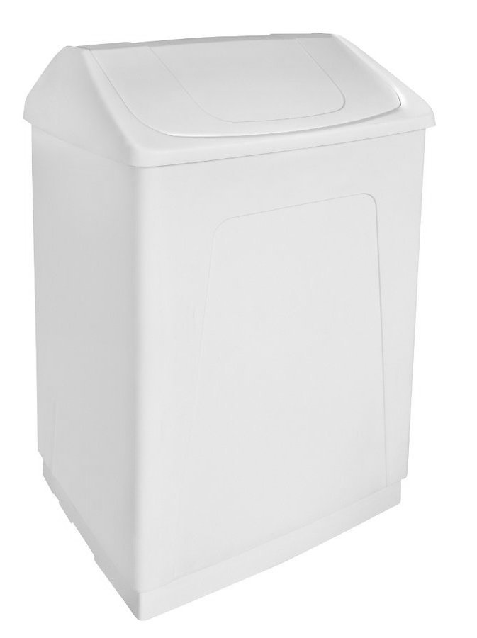 Odpadkový koš výklopný, 55 l, bílý plast ABS