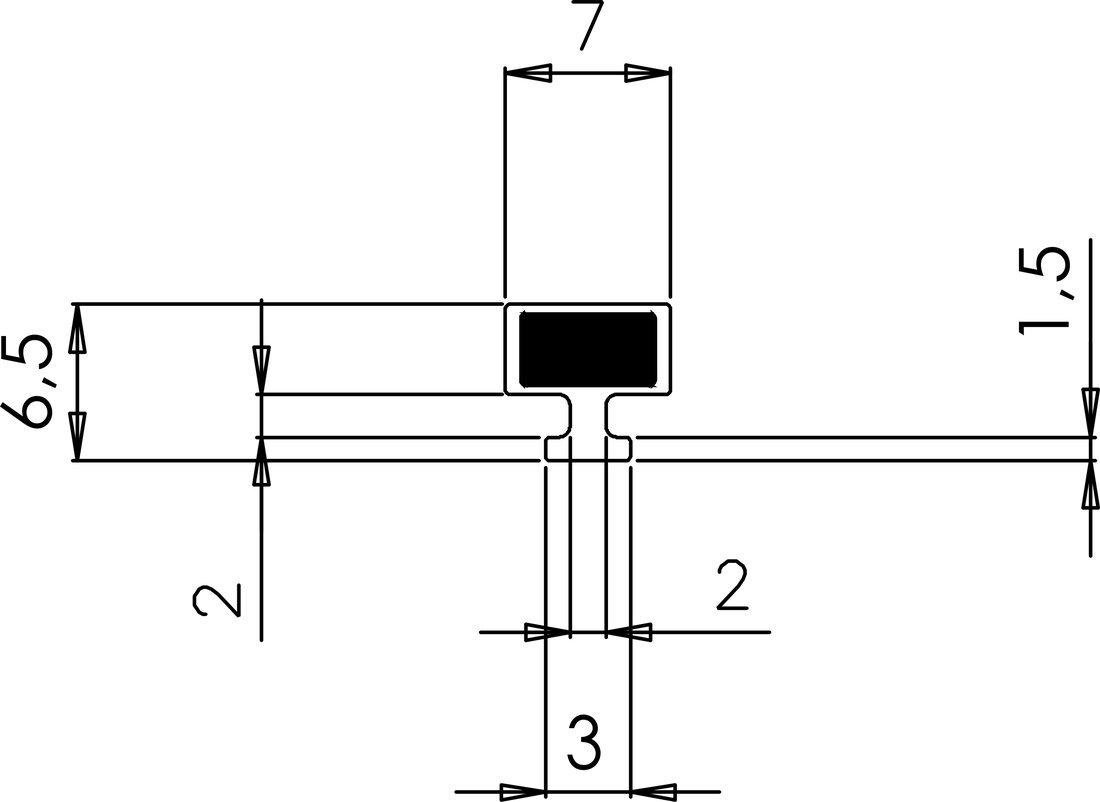 VITRA LINE magnetické těsnění do profilu do NIKY, 2000mm