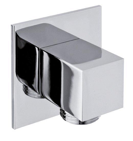 Vývod sprchy, hranatý, tenká krytka, chrom