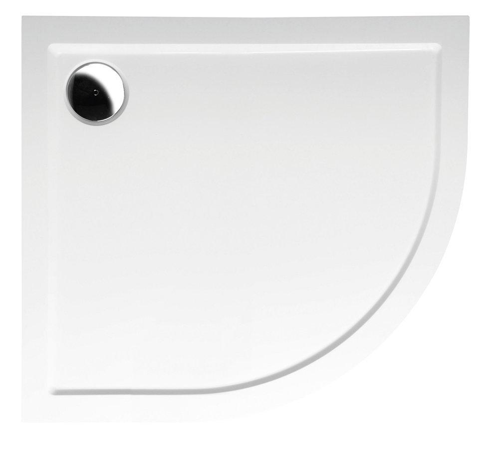 RENA L sprchová vanička z litého mramoru, čtvrtkruh 90x80x4cm, R550, levá, bílá
