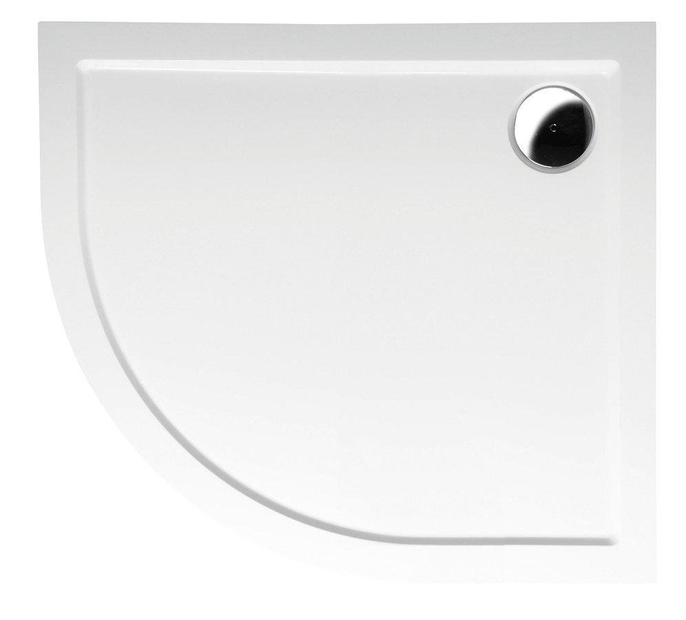 RENA R sprchová vanička z litého mramoru, čtvrtkruh 90x80x4cm, R550, pravá, bílá