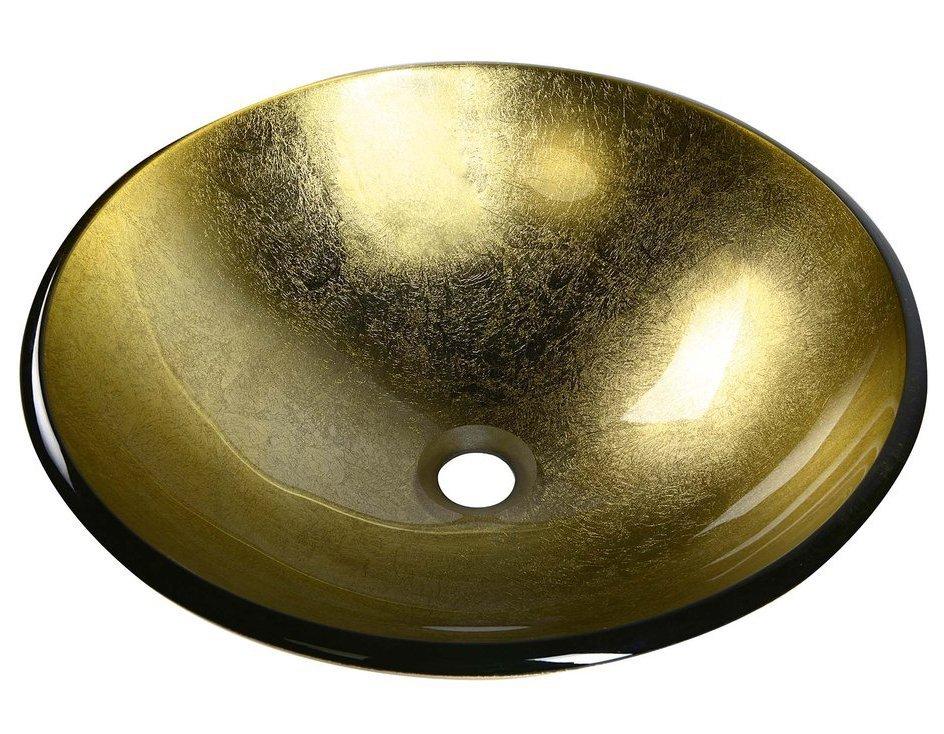 SHAY skleněné umyvadlo průměr 42 cm, zlatá