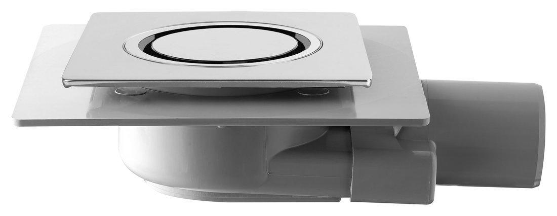 TIRANA podlahová vpust boční 100x100 mm, odpad 50mm, chrom