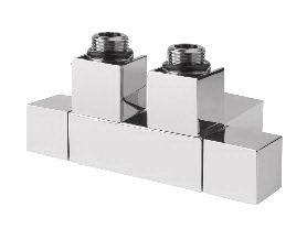 CUBE TWIN připojovací sada ventilů pro středové připojení, rozteč 50 mm, chrom
