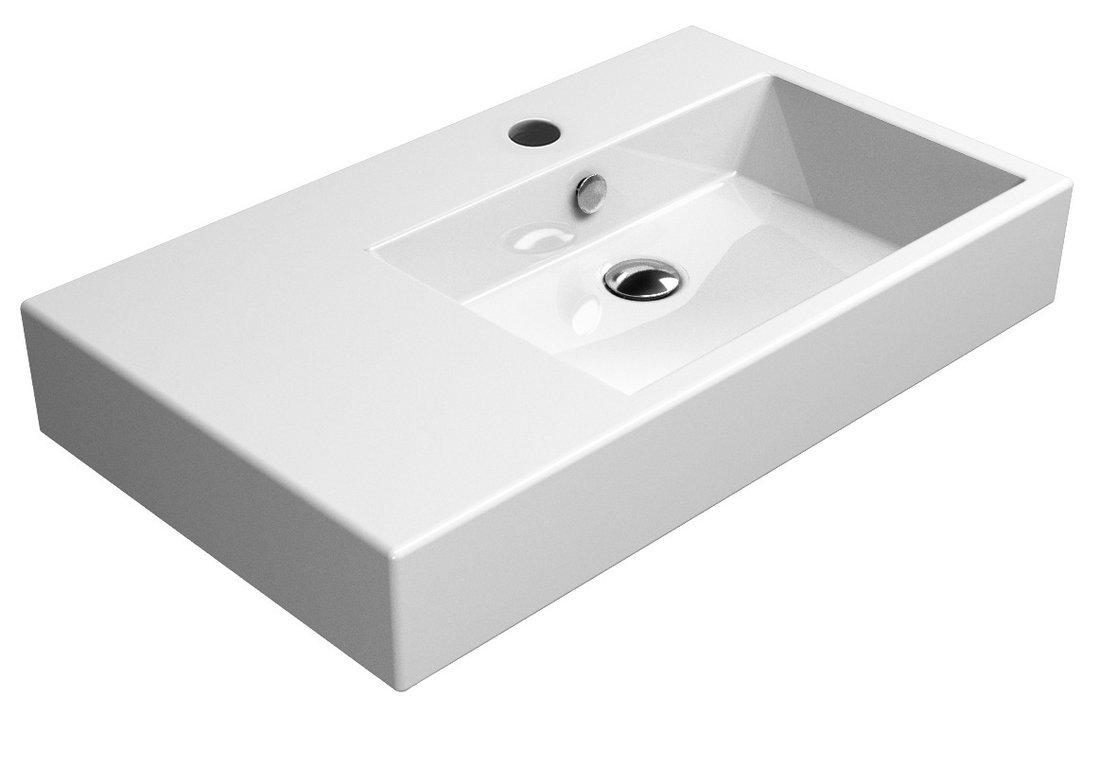 KUBE umyvadlo 80x47 cm, s odkladnou plochou vlevo, bílá ExtraGlaze