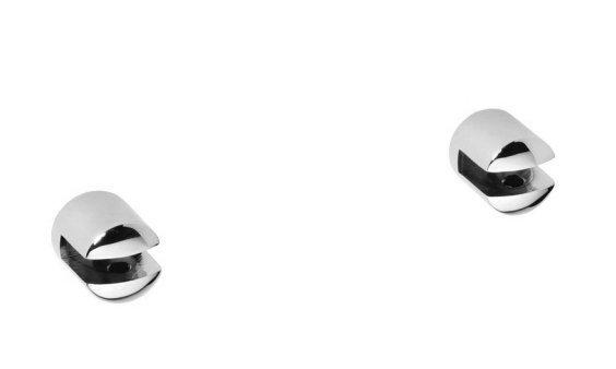 X-ROUND pár malých držáků poličky bez skla, 8 mm, chrom