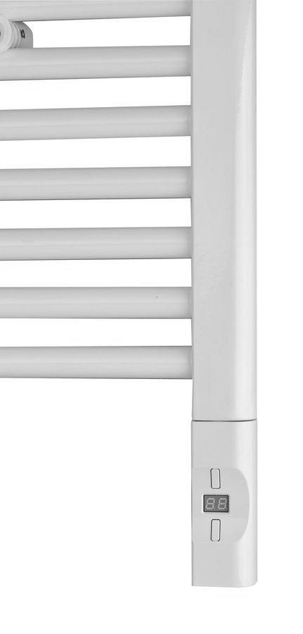 Elektrická topná tyč s termostatem a dálkovým ovládáním, 900 W, D-tvar, bílá