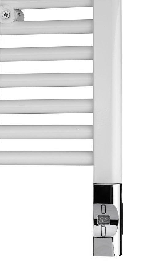 Elektrická topná tyč s termostatem a dálkovým ovládáním, 900 W, D-tvar, chrom