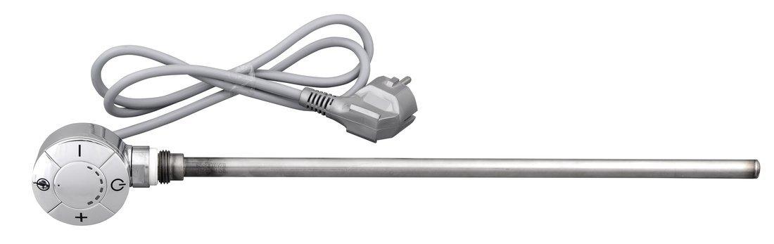 Elektrická topná tyč s termostatem, rovný kabel, 600 W, chrom