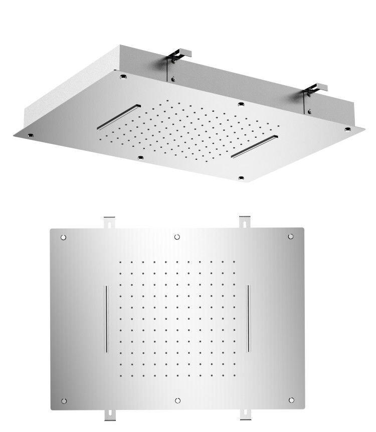 Stropní sprcha do podhledu se dvěma kaskádami, 560x400mm, leštěný nerez