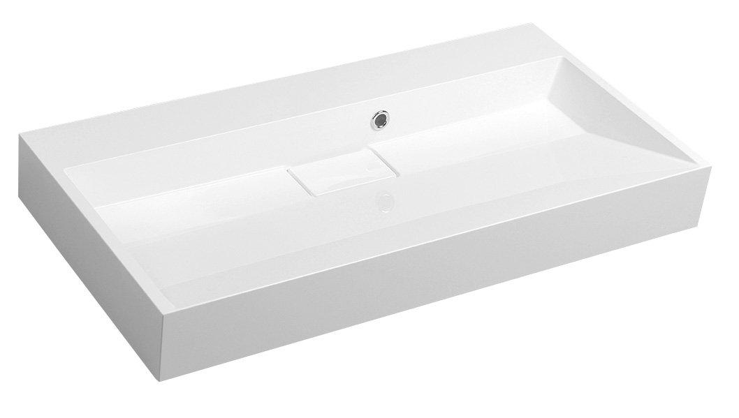 AMUR umyvadlo 90x46 cm, litý mramor, bez otvoru pro baterii, bílá