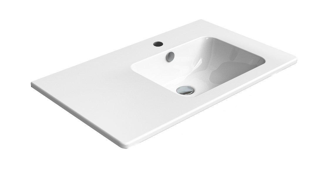 PURA umyvadlo s odkládací plochou vlevo, 80x50 cm, bílá ExtraGlaze