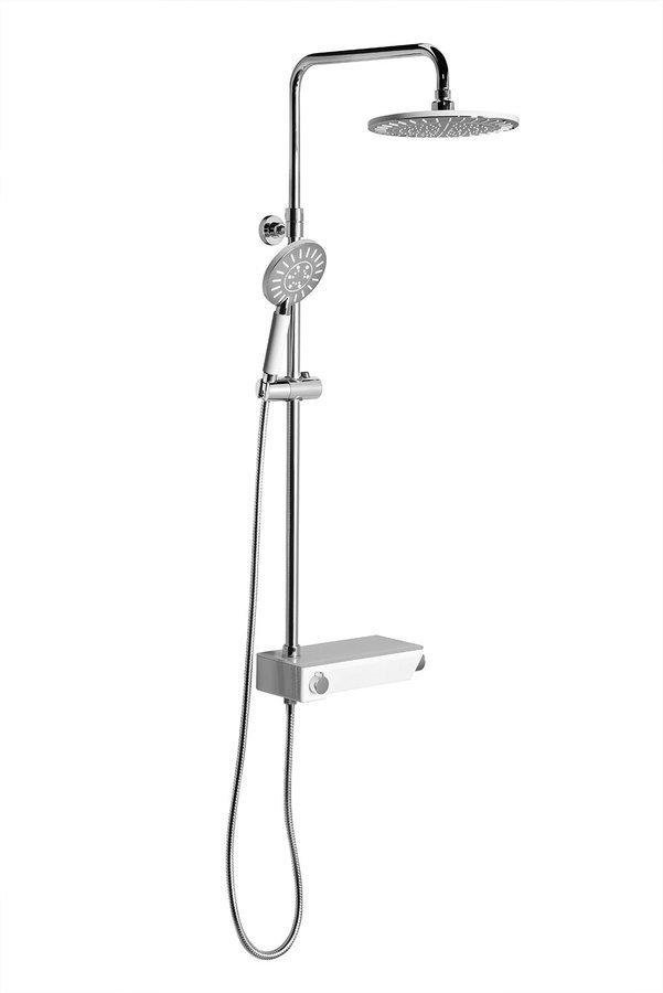 LIAM sprchový systém s termostatickou baterií a praktickou policí, chrom