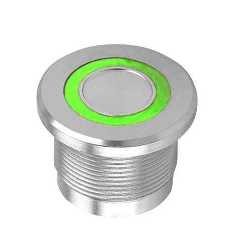 Piezoelektrické tlačítko z nerez oceli, zelené prstenc. podsvícení 12V LED, IP68