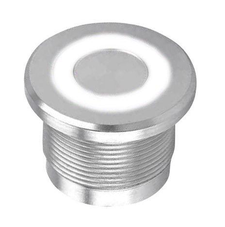 Piezoelektrické tlačítko z nerez oceli, bílé prstenc. podsvícení 12V LED, IP68